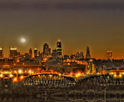 City Photograph - Moon Over Kansas City Mo by Don Wolf