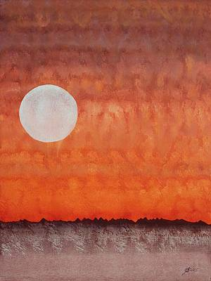 Watercolor With Pen Painting - Moon Over Mojave by Sol Luckman