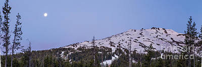 Sunriver Photograph - Moon Over Mount Bachelor by Twenty Two North Photography