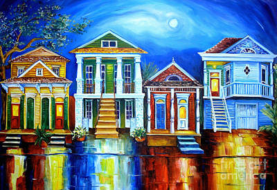 Louisiana Oil Painting - Moon Over New Orleans by Diane Millsap