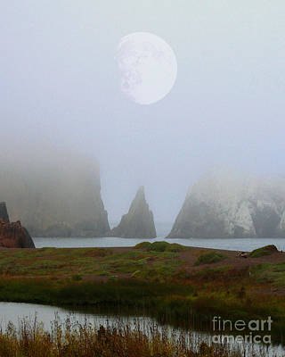 Moon Over Rodeo Beach Print by Wingsdomain Art and Photography