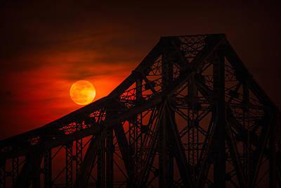 Beaver Photograph - Moon Over The Bridge by Emmanuel Panagiotakis