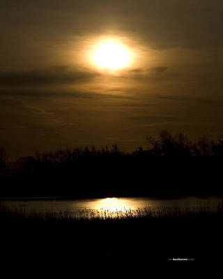 Reflection Harvest Photograph - Moon Over The Pond by Tom Buchanan