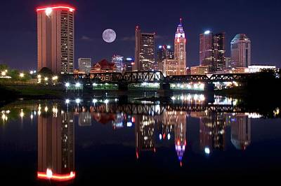 Photograph - Moon Over The Scioto by Frozen in Time Fine Art Photography