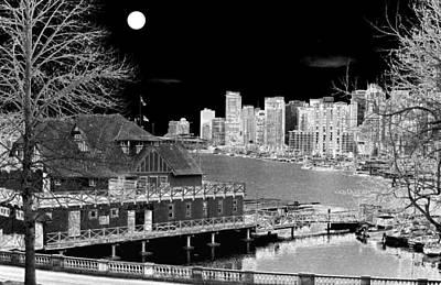 Walkway Digital Art - Moon Over Vancouver by Will Borden