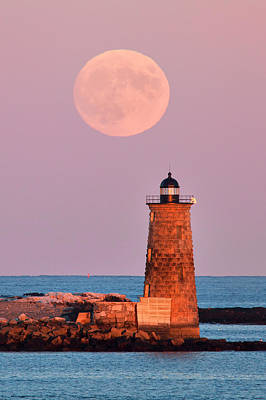 Sea Moon Full Moon Photograph - Moon Over Whaleback by Eric Gendron