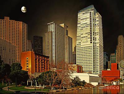 Moon Over Yerba Buena Gardens San Francisco Print by Wingsdomain Art and Photography