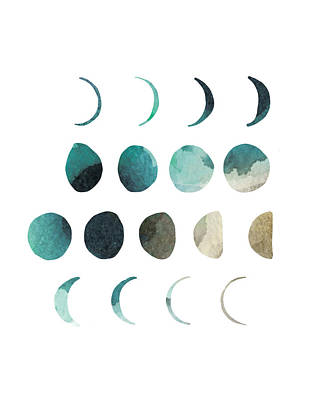 Galaxies Drawing - Moon Phases Watercolor by Manuela Pugliese