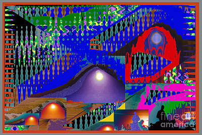 Rights Manages Images Mixed Media - Moon Reflections On Mountains Abstract Graphic Paint Download For Personal N Commercial Projects Fun by Navin Joshi