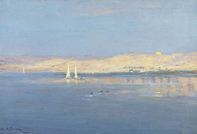 African Landscape Painting - Moon Rising Over The Nile, 1900 by William James