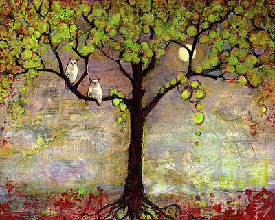 Wildlife Landscape Painting - Moon River Tree Owls Art by Blenda Studio