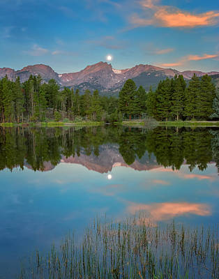 John Hallett Photograph - Moon Set Over Sprague Lake by John Vose