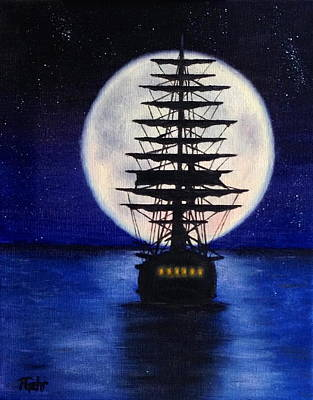 Pirate Ship Painting - Moon Voyage by Dr Pat Gehr