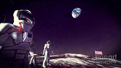 Astronauts Digital Art - Moon Walk by Methune Hively