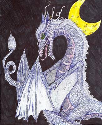 Joshua Massenburg Drawing - Moon Dragon by Joshua Massenburg