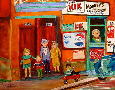 Litvack Naive Painting - Mooney's Candy Store In The Point by Michael Litvack