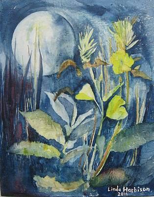 Moonflowers Original by Linda Harbison
