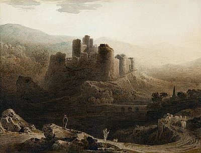 Moonlight - Chepstow Castle Print by John Martin