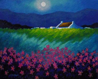 Tshirt Painting - Moonlight County Wicklow by John  Nolan