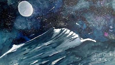 Wet Into Wet Watercolor Painting - Moonlight  by Eunice Miller