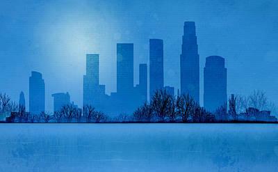 Los Angeles Skyline Mixed Media - Moonlight In Los Angeles by JW Digital Art