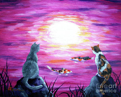 Gray Tabby Painting - Moonlight On Pink Water by Laura Iverson