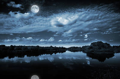Silhouette Photograph - Moonlight Over A Lake by Jaroslaw Grudzinski