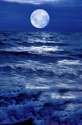 Moonlight Over The Ocean Print by Christian Lagereek