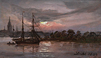 Johan Christian Dahl Painting - Moonlight Over The River Oder At Swinemuende, Dresden by Johan Christian Dahl