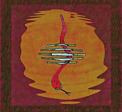 Viper Drawing - Moonlight Swim by John Pullicino