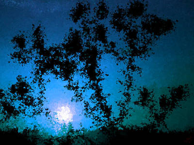 Moon Painting - Moonlight Through The Trees by Bruce Nutting
