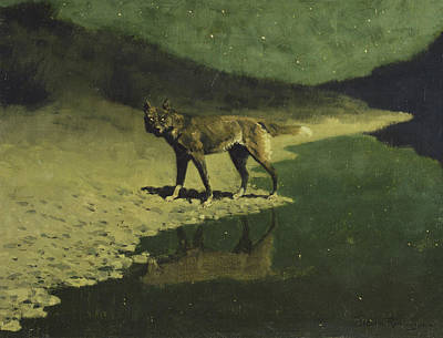 Moonlight Painting - Moonlight, Wolf by Frederic Remington