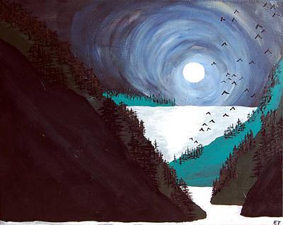 Moonlit Night Drawing - Moonlit Bay by Elizabeth Thorstenson