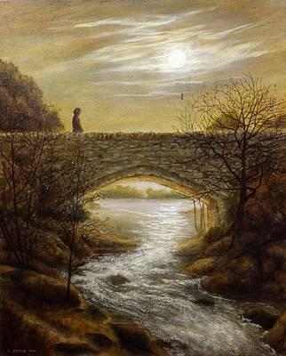 Damian Painting - Moonlit Bridge by Damian Osborne
