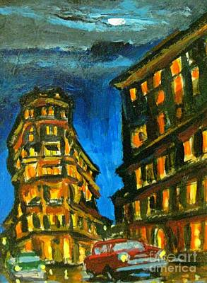 Moonlit Night Drawing - Moonlit Car Chase In Old Havana by John Malone