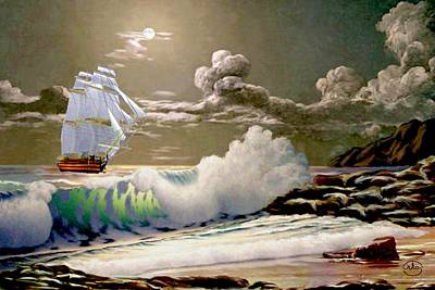 Portland Head Lighthouse Painting - Moonlit Clipper by Ron Chambers