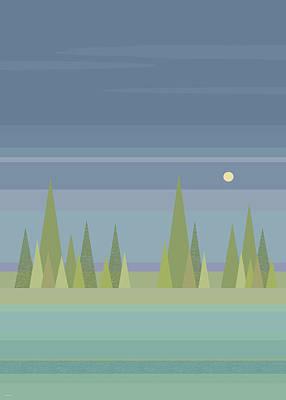 Minimalist Landscape Digital Art - Moonlit Dreams by Val Arie