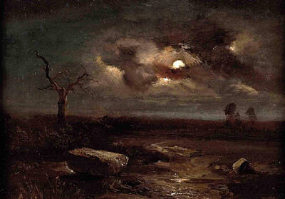 Carl Gustav Carus Painting - Moonlit Landscape by Carl Gustav Carus