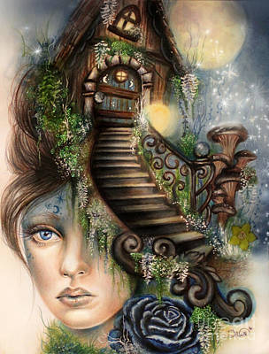 Mushroom Mixed Media - Moonlit Manor  by Sheena Pike