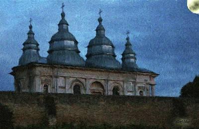 Cross Painting - Moonlit Monastery by Jeff Kolker