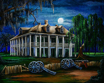 South Louisiana Painting - Moonlit Plantation by Elaine Hodges