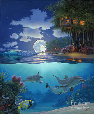 Dolphin Painting - Moonlit Sanctuary by Al Hogue