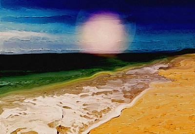 Ocean Painting - Moonlit Sea 2 by Karen Conine