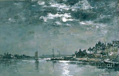 Moonlit Seascape Print by Eugene Louis Boudin