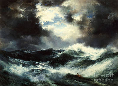 Moonlit Shipwreck At Sea Print by Thomas Moran