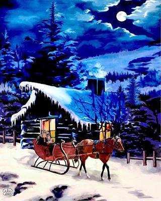 Mountain Scape Painting - Moonlit Sleigh Ride by Ron Chambers