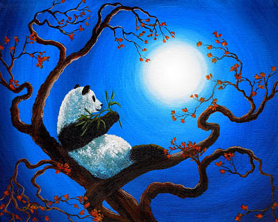 Panda Painting - Moonlit Snack by Laura Iverson