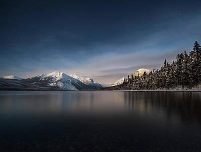 Moonlit Snowshoe // Lake Mcdonald, Glacier National Park Print by Nicholas Parker