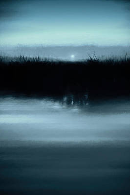 Monochrome Photograph - Moonrise On The Water by Scott Norris