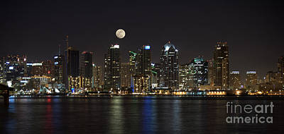 Building Photograph - Moonrise Over San Diego by Sandra Bronstein